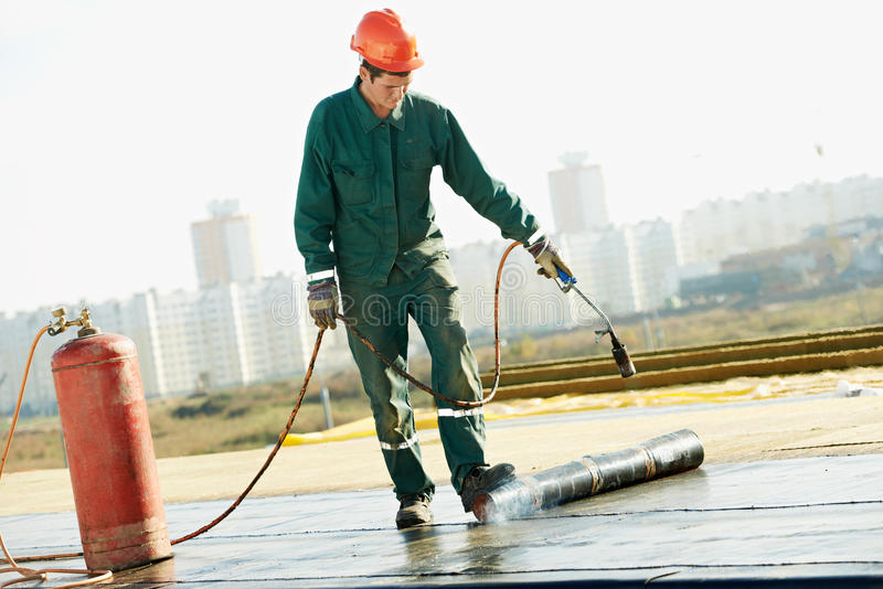 Flat Roof Covering Repair Works With Roofing Felt Stock