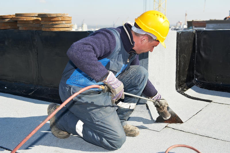Download Flat Roof Covering Works With Roofing Felt Stock Image - Image: 24367897