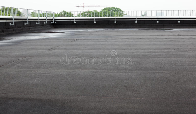 Flat roof with roofing stock photography
