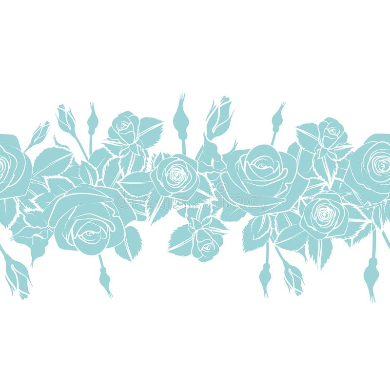 Flat roses flower silhouette horizontal pattern lace ribbon border in sky blue gray color royalty free illustration