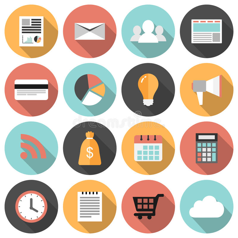 Flat round business and marketing web icons set. With long shadows royalty free illustration