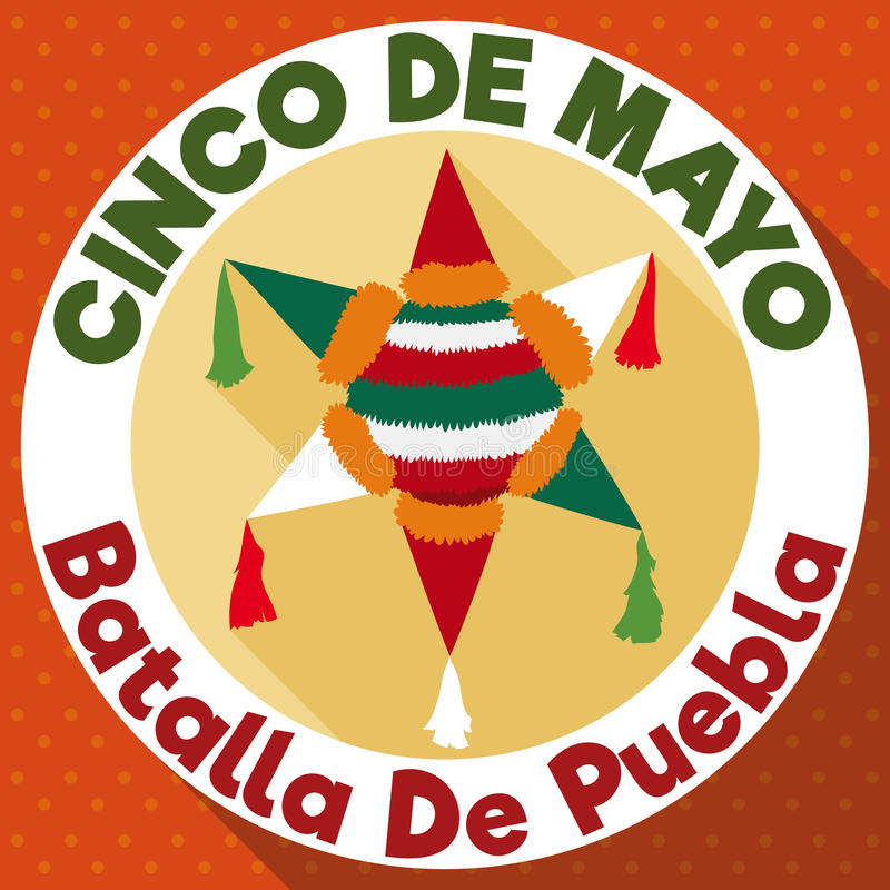 Flat Round Button With Pinata For Cinco De Mayo Celebration