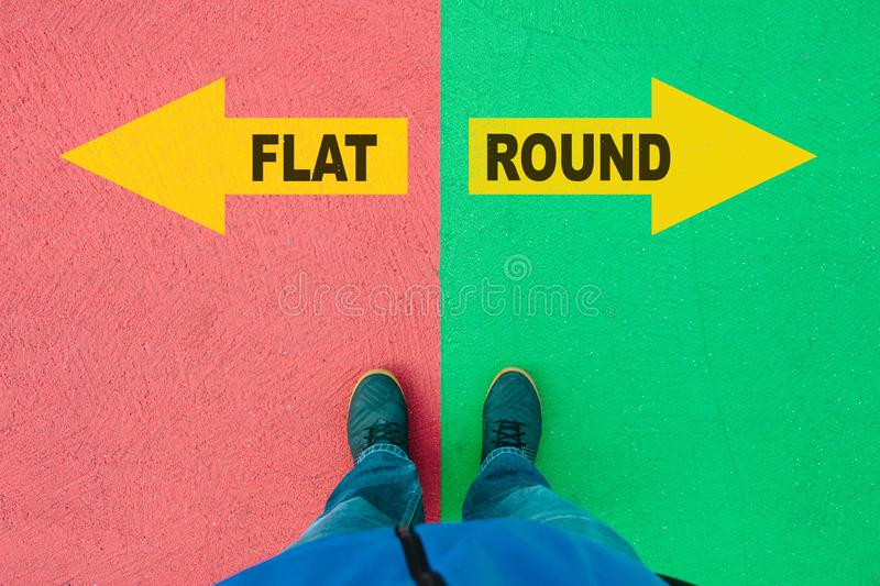 Flat and Round direction choices with arrows on street stock image