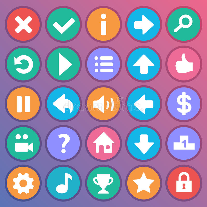 Flat and round game icons vector illustration
