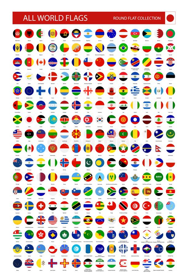 Flat Round Icons of All World Flags vector illustration