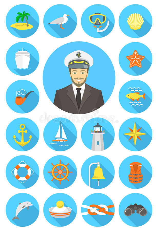 Flat round nautical icons with young attractive captain. Set of modern flat vector nautical icons of sea equipment, navigation, transportation, marine animals stock illustration