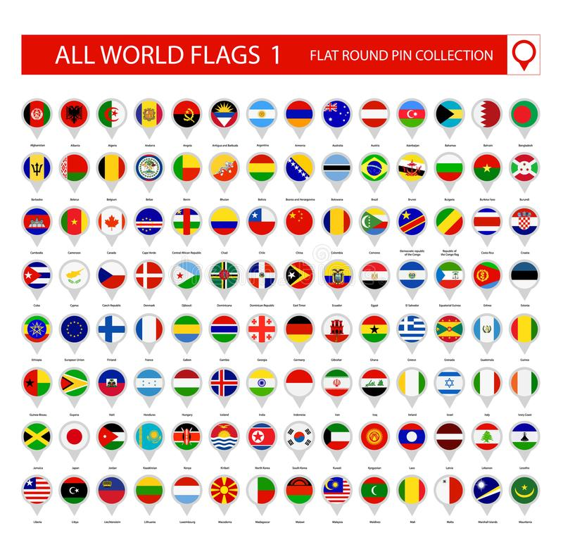 Flat Round Pin Icons of All World Flags. Part 1 stock illustration