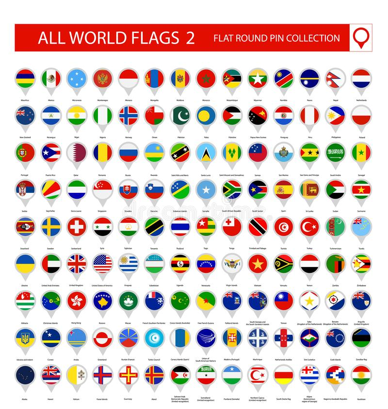 Free Flat Round Pin Icons Of All World Flags. Part 2 Stock Photos - 114447453
