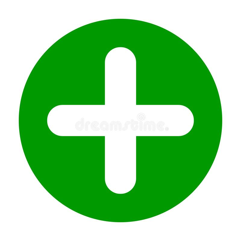 Flat round plus sign green icon, button. Positive symbol isolated on white background. royalty free illustration