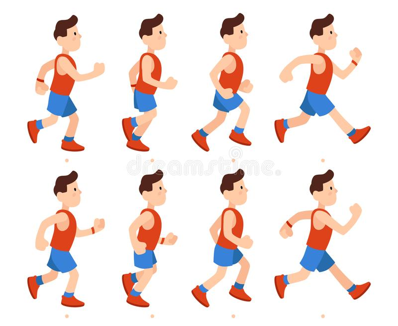 Flat running man. Athletic boy run animation frames sequence. Runner male in tracksuit, legs animations cartoon vector royalty free illustration
