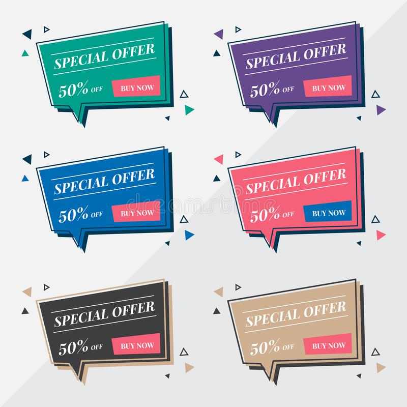 Flat sale banner design templates in memphis retro style. Modern speech bubble balloon. Speech bubble design template. Special off stock images