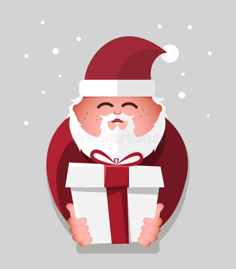 Flat santa claus with gift charactor. vector illustration. Flat christmas santa claus with gift charactor. vector illustration stock illustration