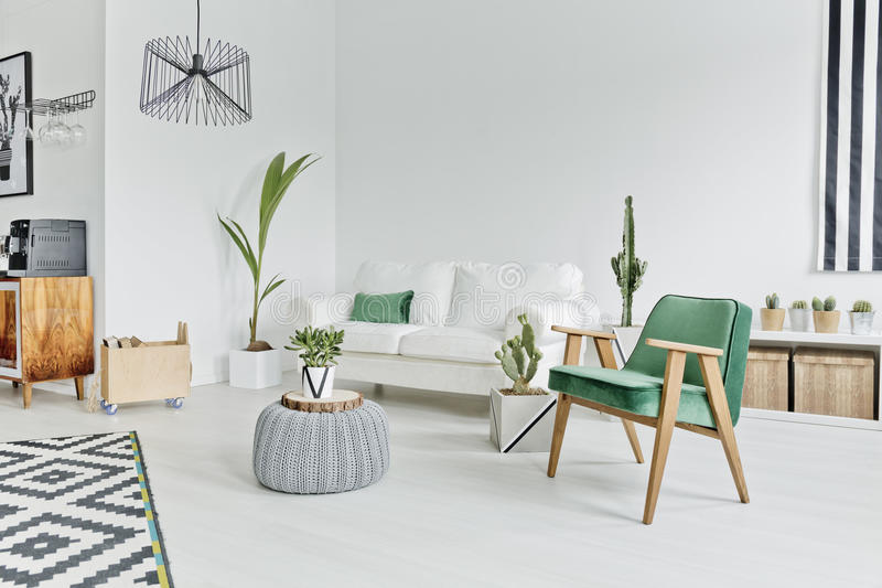 Flat in scandinavian style. Spacious, well-lighted flat in scandinavian style stock images
