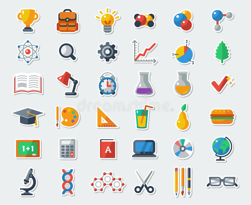 Flat School Icons Vector Collection royalty free illustration