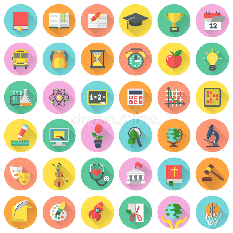 Flat school subjects icons with long shadows. Set of modern flat round icons of school subjects in colored circles with long shadows stock illustration