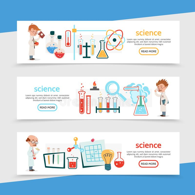 Flat Science Colorful Horizontal Banners vector illustration