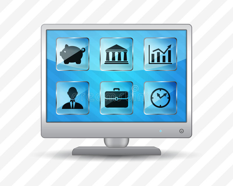 Flat screen monitor with business icons. On a striped background royalty free illustration