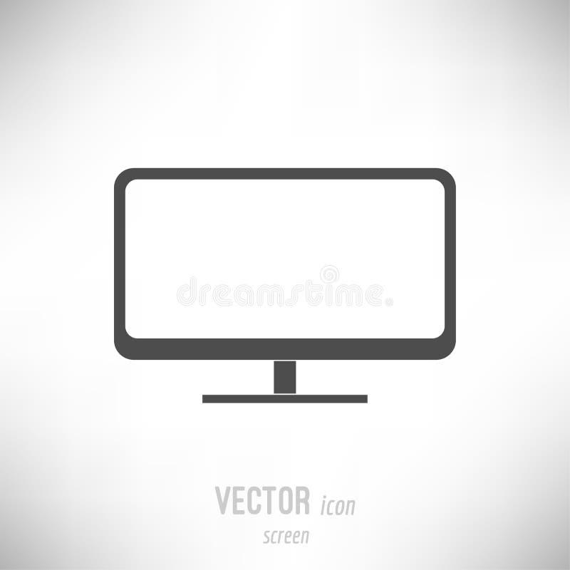 Flat screen monitor icon. Vector illustration of flat design screen monitor icon. dark grey stock illustration