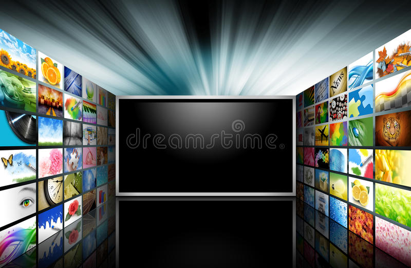 Flat Screen Television with Images stock illustration