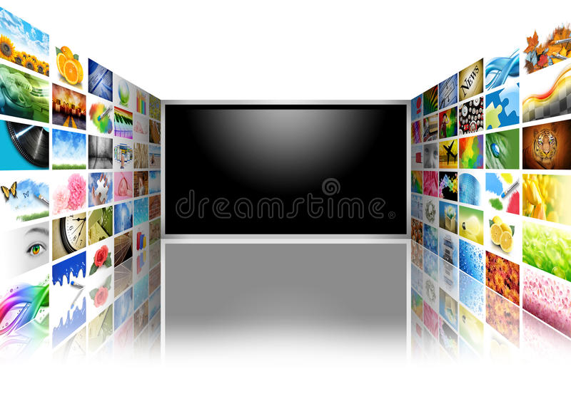 Flat Screen Television with Images on White vector illustration