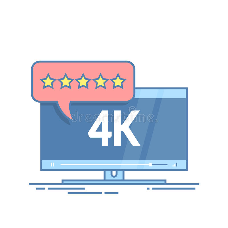 Flat screen tv with 4k Ultra HD video technology. User reviews in rating form with stars on speech bubble. Thin line vector illustration