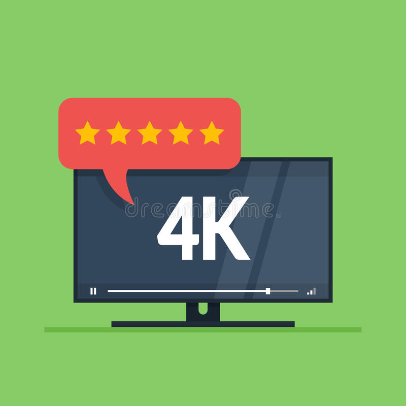 Flat screen tv with 4k Ultra HD video technology. User reviews in rating form with stars on speech bubble. Vector royalty free illustration