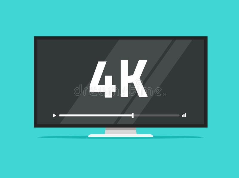 Flat screen tv with 4k Ultra HD video technology vector illustration, led television display with high definition vector illustration