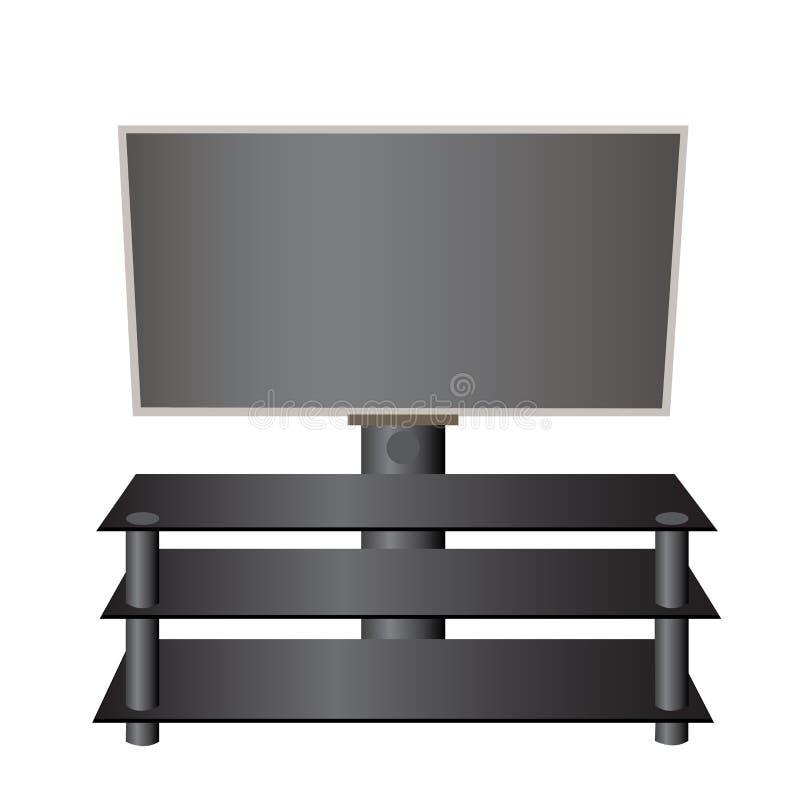 Flat-screen TV LCD, plasma op een speciale realistische tribune vector illustratie