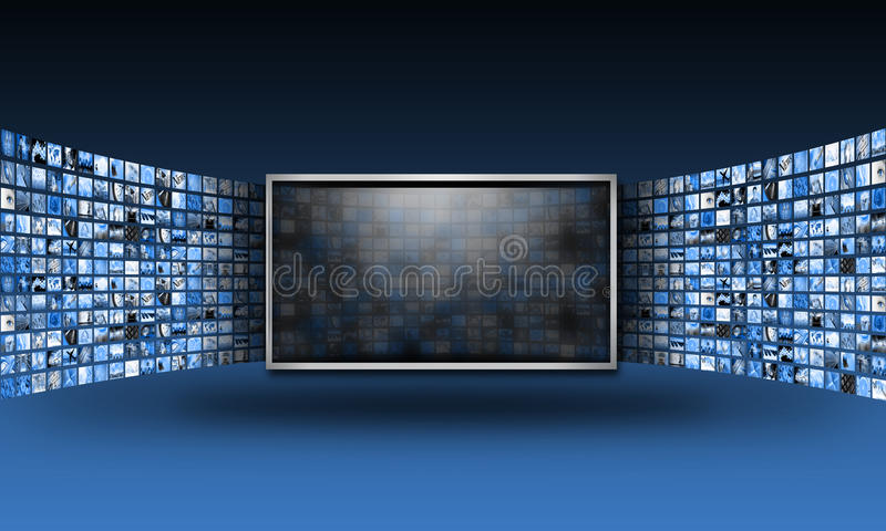 Download Flat Screen TV Monitor With Streaming Images Stock Illustration - Illustration of advertisement, design: 18673385