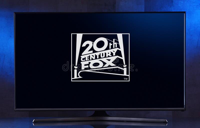 Flat-screen TV set displaying logo of 20th Century Studios. POZNAN, POL - FEB 04, 2020: Flat-screen TV set displaying logo of 20th Century Studios, an American royalty free stock images