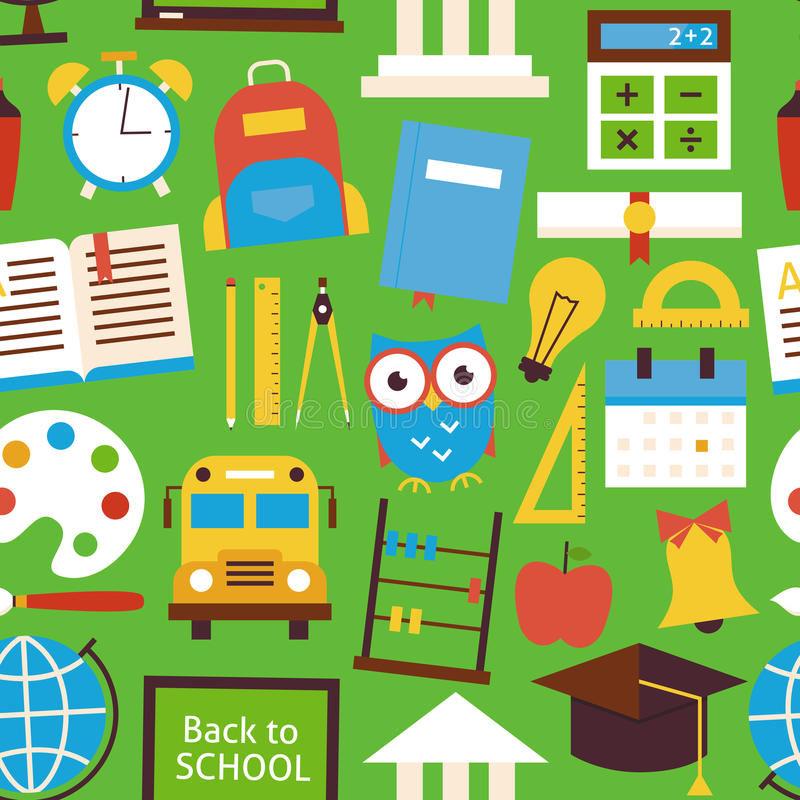 Flat Seamless Pattern Back to School Objects over Green stock illustration