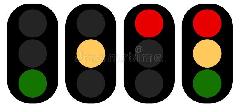 Flat semaphore, traffic light icons, symbols. Transportation, tr. Avel concepts royalty free illustration