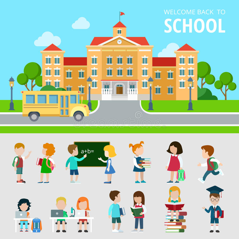 Flat set of bus, school, students, nerd wonk. Flat set of bus, school, students, pupils, geek, nerd and wonk situations vector illustration. Education and royalty free illustration