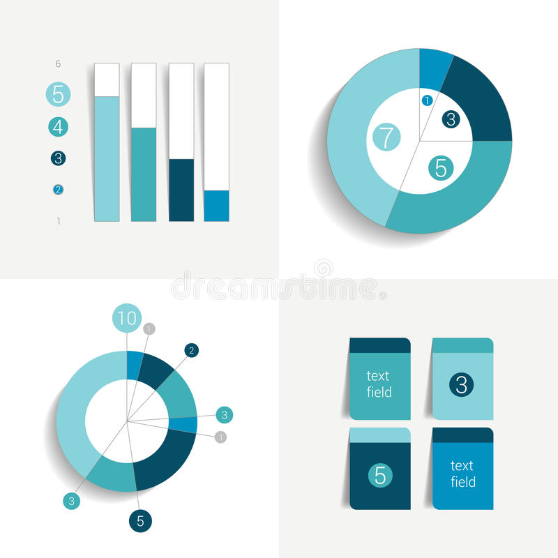 Flat set of charts and brochure elements. Simply color editable. vector illustration