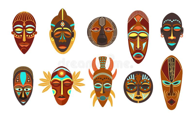 Flat set of colorful african ethnic tribal ritual masks of different shape isolated on white background. Flat set of colorful african ethnic tribal ritual masks royalty free illustration