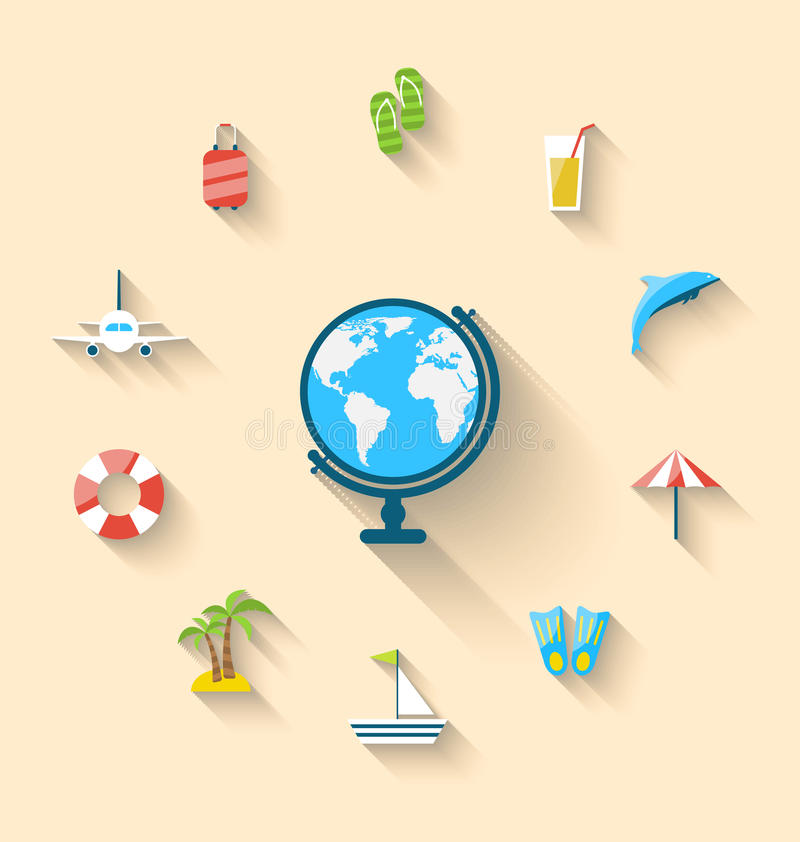 Free Flat Set Icons Tourism Objects And Equipment With Globe Royalty Free Stock Photos - 51656958
