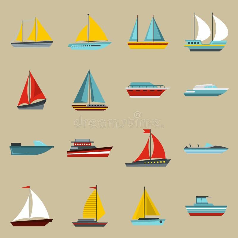Boat and ship icons set, flat style. Flat ship icons set. Universal ship icons to use for web and mobile UI, set of basic ship elements isolated illustration royalty free illustration