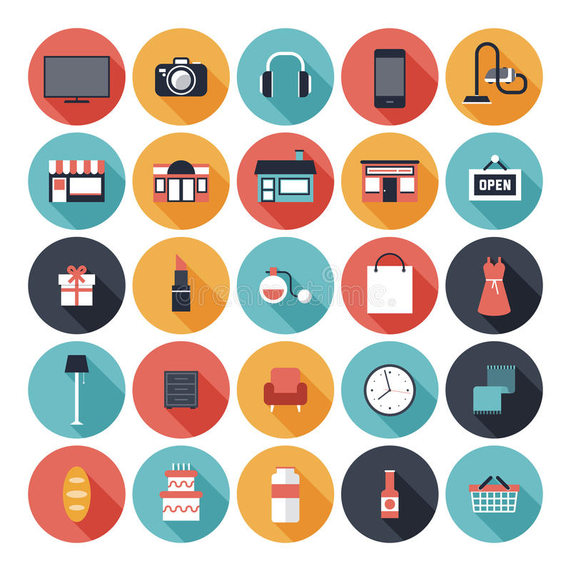 Flat shopping icons set. Modern flat icons vector set with long shadow effect in stylish colors of shopping objects and items. Isolated on white background stock illustration