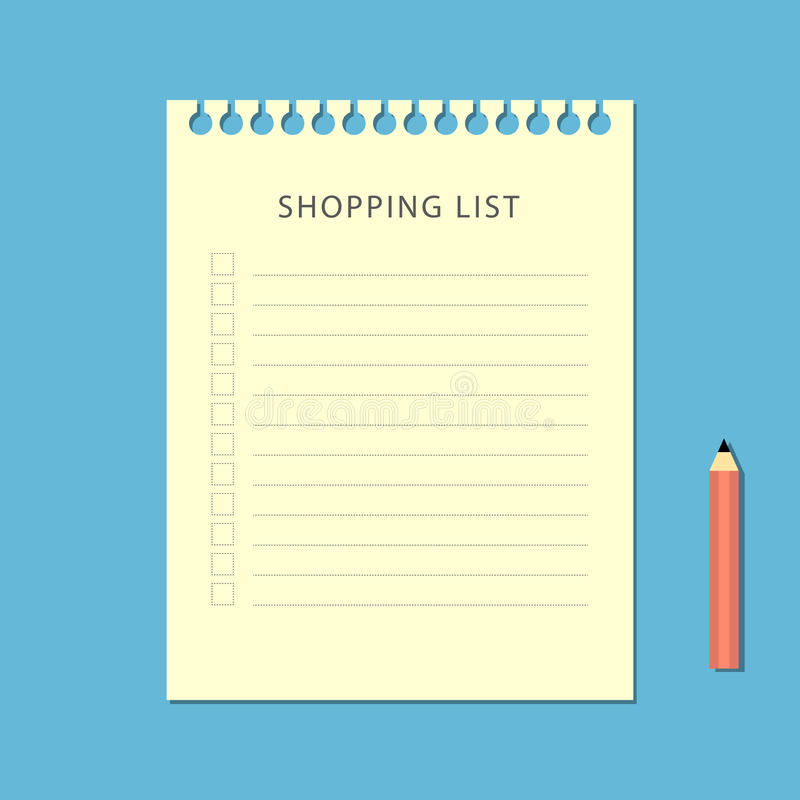 Flat shopping list and pencil on blue background stock illustration