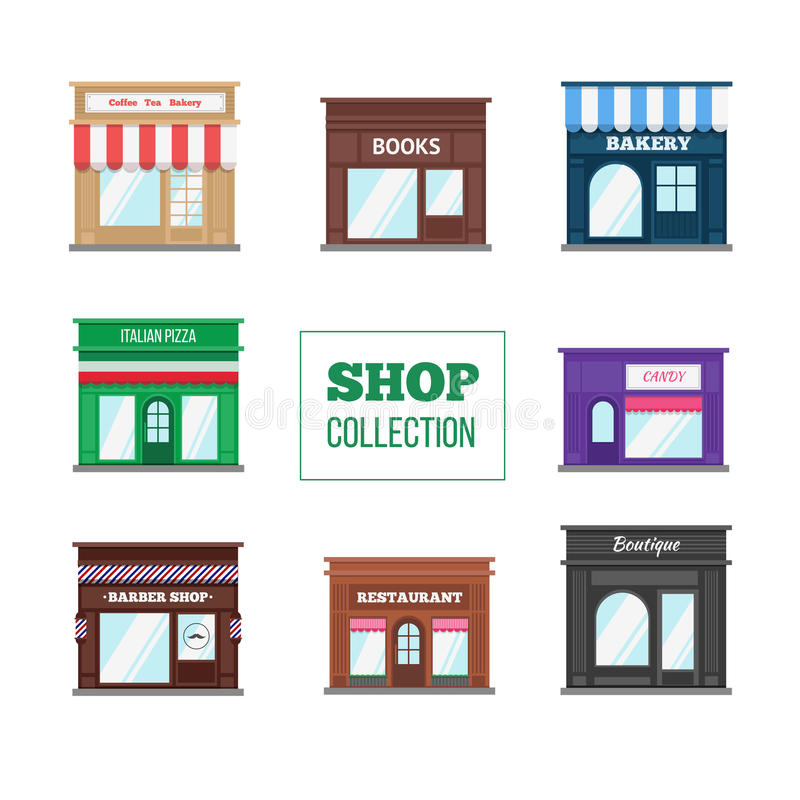 Flat shops and stores collection vector illustration