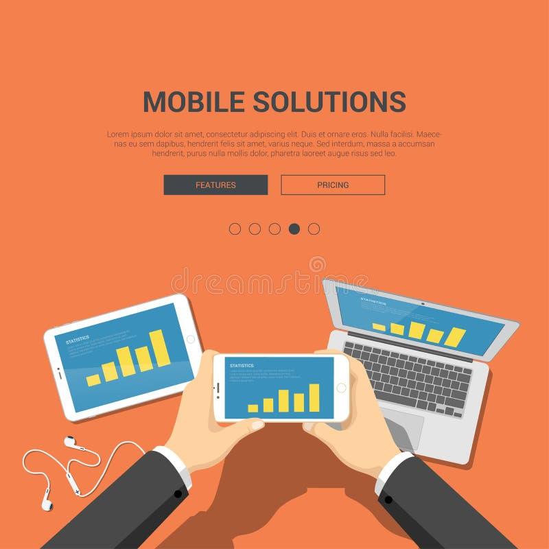 Flat showcase mockup template for mobile solutions. Showcase mockup modern flat design vector illustration concept for mobile solutions hands on smartphone vector illustration