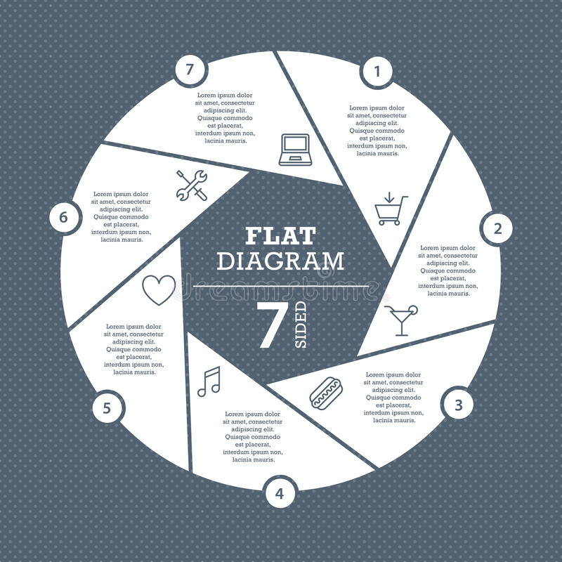 Flat shutter diagram template for your business presentation with text areas and icons. Vector infographic graphic design stock illustration