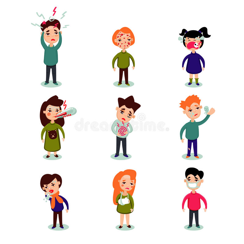 Flat Sick People Set. Of man woman children with different diseases and illnesses vector illustration stock illustration