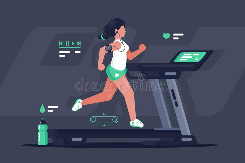 Flat silhouette young woman running on treadmill. stock illustration
