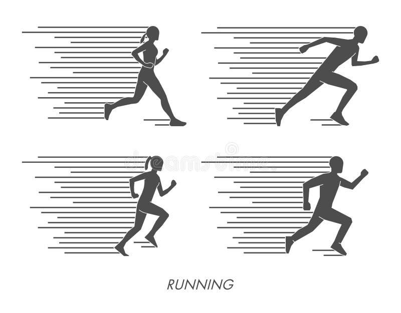 Flat silhouettes of runners. Black figures marathoner. vector illustration