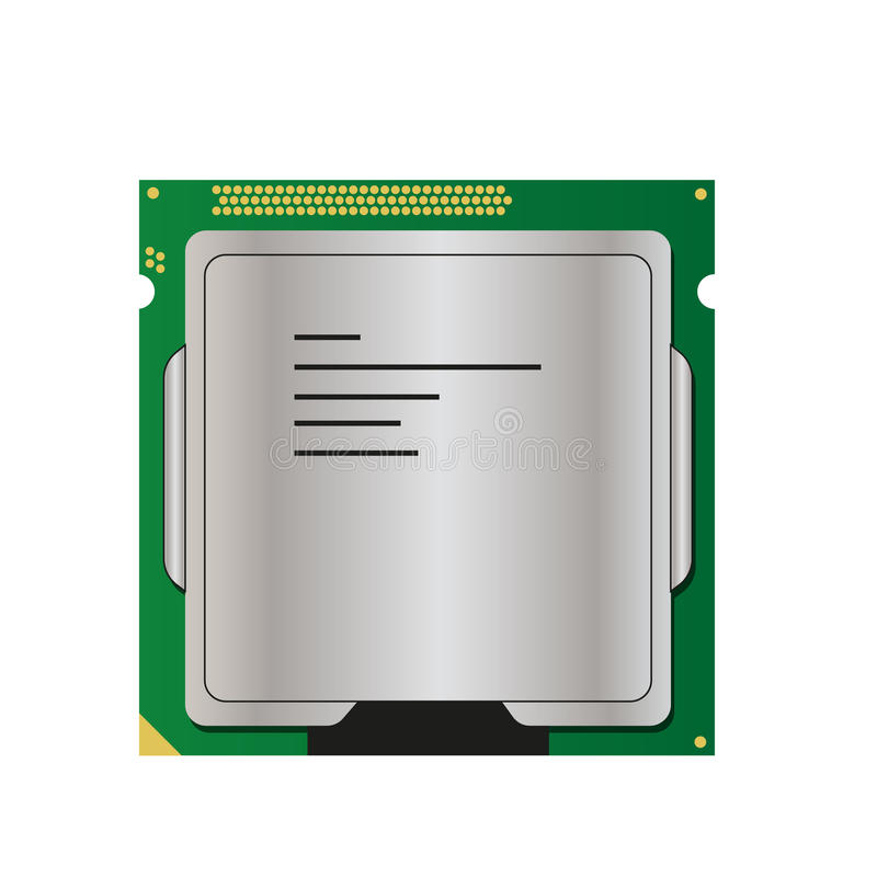 Flat silver, gold and green processor for computer stock illustration