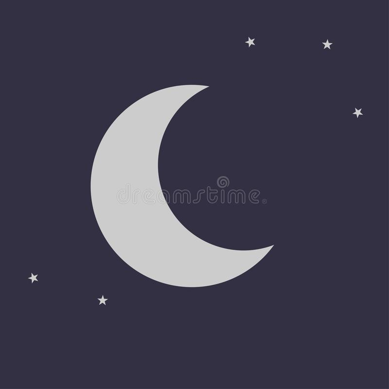 Flat silver moon icon with vector shape stars on a dark blue black background. EPS 10 illustration.  vector illustration