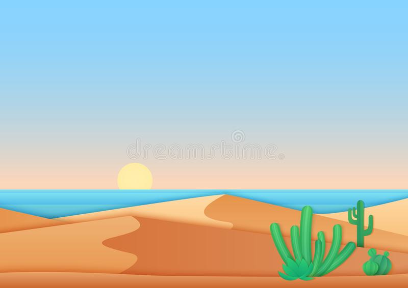 Flat simple design of desert near ocean sea landscape vector illustration. vector illustration