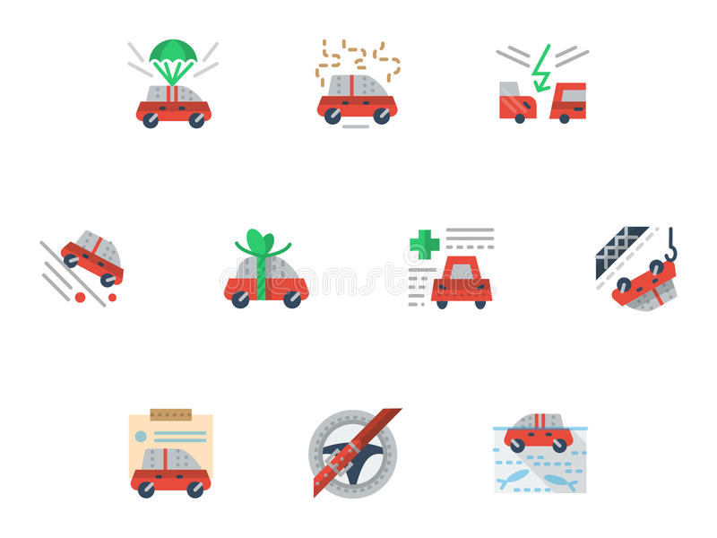 Flat simple icons for car insurance service. Car insurance cases. Set of colored simple flat icons for insurance service. Design elements for website and vector illustration