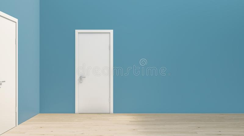 Flat simple turquoise blue wall at right angle with white door and wooden flooring, mockup, template, backdrop vector illustration